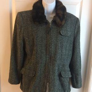 Vintage Ralph Lauren Zip Up Silk Jacket Blazer 12P